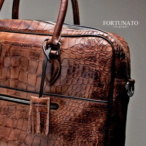 FORTUNATO Suit Case Bag - Deep Croco Red Brown メンズ バッグ ディープクロコ レッドブラウン empire