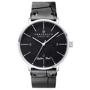 腕時計 メンズ イタリアンレザー 本革 FORTUNATO フォルトゥナート コンサイス 44mm レザーダイヤル ブラック/シルバー|empire