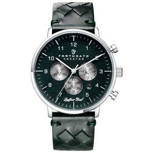 クロノグラフ 腕時計 メンズ イタリアンレザー 本革 FORTUNATO フォルトゥナート クリエイター 44mm レザーダイヤル ダークグリーン/シルバー|empire