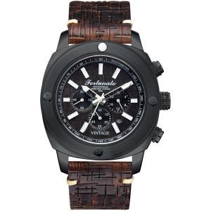 クロノグラフ 腕時計 メンズ イタリアンレザー 本革 FORTUNATO フォルトゥナート ヴィンテージ 44mm レザーダイヤル ダークブラウン/ブラック|empire