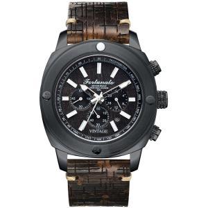 クロノグラフ 腕時計 メンズ イタリアンレザー 本革 FORTUNATO フォルトゥナート ヴィンテージ 44mm レザーダイヤル ダークグレー/ブラック|empire