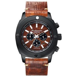 クロノグラフ 腕時計 メンズ イタリアンレザー 本革 FORTUNATO フォルトゥナート ヴィンテージ 44mm レザーダイヤル ライトブラウン/ブラック|empire