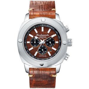 クロノグラフ 腕時計 メンズ イタリアンレザー 本革 FORTUNATO フォルトゥナート ヴィンテージ 44mm レザーダイヤル ライトブラウン/シルバー|empire