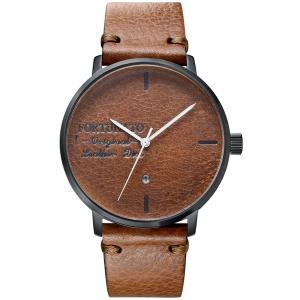 腕時計 メンズ イタリアンレザー 本革 FORTUNATO フォルトゥナート アンティーク ワックス 44mm レザーダイヤル 802/ブラック|empire
