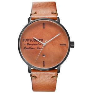 腕時計 メンズ イタリアンレザー 本革 FORTUNATO フォルトゥナート アンティーク ワックス 44mm レザーダイヤル ベージュ/ブラック|empire