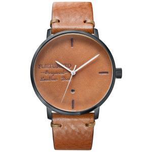 腕時計 メンズ イタリアンレザー 本革 FORTUNATO フォルトゥナート アンティーク ワックス 44mm レザーダイヤル ブラウン/ブラック|empire