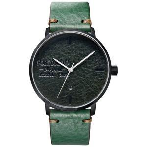 腕時計 メンズ イタリアンレザー 本革 FORTUNATO フォルトゥナート アンティーク ワックス 44mm レザーダイヤル グリーン/ブラック|empire