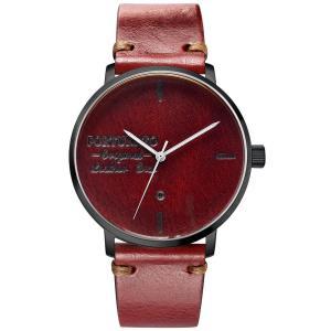 腕時計 メンズ イタリアンレザー 本革 FORTUNATO フォルトゥナート アンティーク ワックス 44mm レザーダイヤル レッド/ブラック|empire