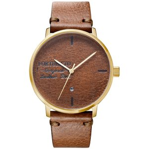 腕時計 メンズ イタリアンレザー 本革 FORTUNATO フォルトゥナート アンティーク ワックス 44mm レザーダイヤル 802/ゴールド|empire