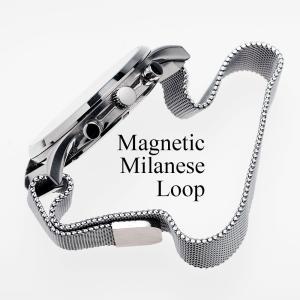 時計 ベルト 腕時計 バンド 18mm 20mm 22mm マグネティック ミラネーゼ ループ シルバー ブラック|empire