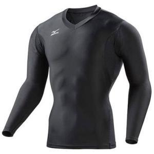 ネコポス選択可 ミズノ mizuno バイオギア Vネック長袖 A86YL35109 ブラック メンズ アイスタッチ UVカット 紫外線カット アンダーシャツ|ems-sports1