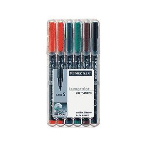 ポイント10倍 メール便可 ステッドラー ルモカラーペン 油性 超極細書きS 線幅0.4〜0.45mm 6色セット ミリペン|enauc