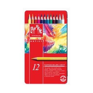 ポイント10倍 メール便可 カランダッシュ CARANd'ACHE 水溶性色鉛筆 スプラカラーソフト 12色セット (缶入り)|enauc