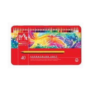 ポイント10倍 送料無料 カランダッシュ CARANd'ACHE 水溶性色鉛筆 スプラカラーソフト 40色セット (缶入り)|enauc