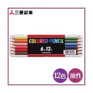 ポイント5倍 メール便可 三菱色鉛筆 512 12C スタンダード12色 6本入り 油性色鉛筆 缶入り|enauc