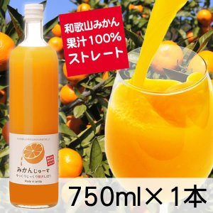 三友農園 果汁100%ストレート 和歌山みかんジュース(750ml×1本)オレンジジュース 温州みかん(国産:和歌山産柑橘)無添加 ストレート|enbai