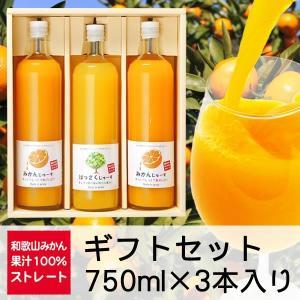 三友農園 果汁100%ストレート 和歌山みかんジュース/オレンジジュース(750ml×3本)無添加 ストレート 国産(和歌山産柑橘・温州みかん・八朔 はっさく)|enbai