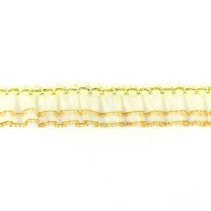 2段フリルレースリボン ギャザーレース ゴールド 1m【ゆうパケット対応】|enchante-kobo