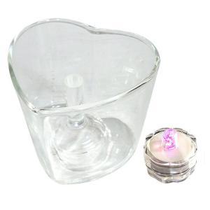 ジェルキャンドルセット グラスとLEDキャンドルライトのセット ハート型 【宅配便】|enchante-kobo