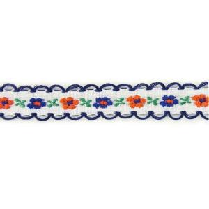 在庫限り!小花のチロリアンリボンk 白×紺縁 1m【ゆうパケット対応】|enchante-kobo