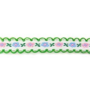 在庫限り!小花のチロリアンリボンd 白×グリーン縁 1m【ゆうパケット対応】|enchante-kobo