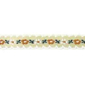 在庫限り!小花のチロリアンリボンf ライトオリーブ×白縁 1m【ゆうパケット対応】|enchante-kobo