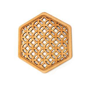 和の小物 格子六角コースター 約89×78×3mm【ゆうパケット対応】|enchante