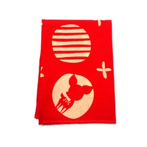 ならむすび手ぬぐいハンカチ 赤 約45×33cm 【ゆうパケット対応】|enchante