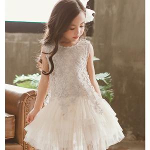 子供 ドレス レース ワンピース 韓国風 可愛い プリンセス 入学式 結婚式 誕生日 発表会 演奏会...