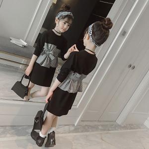 19e229e04826c 韓国子供服 フォーマル ワンピース ワンピース Tシャツ キッズ 女の子 春 秋 衣装 ブラック チェック柄 110 120 130 140 150  160cm