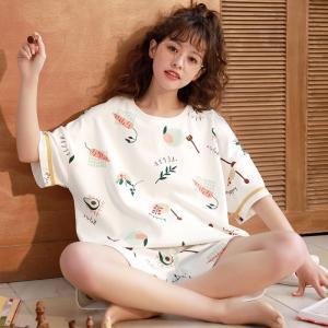 2点セット パジャマ ルームウェア 純綿 レディース 夏 半袖 薄手 パジャマ Tシャツ 短パン ル...