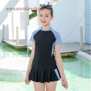 2点セット キッズ女の子 水着 スクール水着 セパレート トップス ショートパンツ付きスカート スポ...