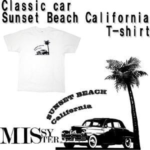 【MISSY MISTER】クラシックカープリント(サンセットビーチカリフォルニア)Tシャツ |ener