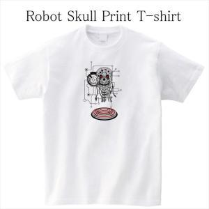 ロボットスカルプリントTシャツ おもしろ ドクロ オリジナル ユニセックス メンズ レディース ener