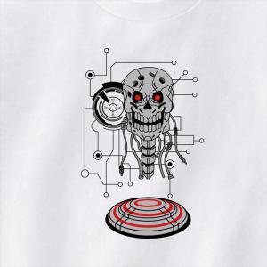 ロボットスカルプリントTシャツ おもしろ ドクロ オリジナル ユニセックス メンズ レディース ener 03