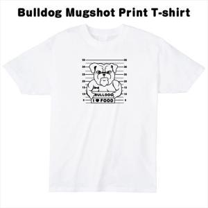 [S-XL] ブルドックマグショットプリントTシャツ おもしろ ロゴ 犬 動物|ener