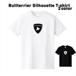 [S-XL] ブルテリアエンブレムTシャツ 動物 ロゴ おもしろ シルエット キャラクター|ener
