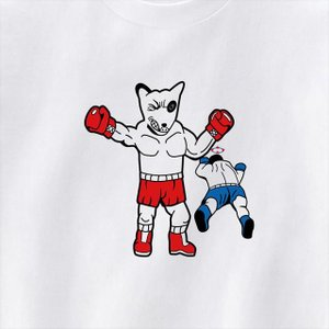 [S-XL]勝利ポーズブルテリアボクサープリントTシャツ 動物 おもしろ キャラクター|ener|03