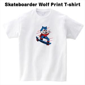 [S-XL] スケートボーダーウルフプリントTシャツ|ener