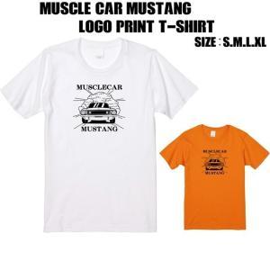 全2色 マッスルカーマスタングロゴプリントTシャツ|ener