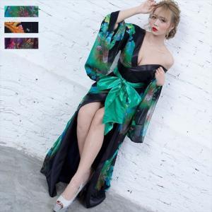 全6色 花柄リボン付き花魁ロングドレス 和柄 着物 セクシー キャバドレス お呼ばれ パーティー 衣装|ener