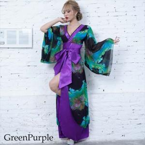 全6色 花柄リボン付き花魁ロングドレス 和柄 着物 セクシー キャバドレス お呼ばれ パーティー 衣装|ener|02