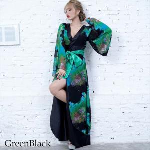 全6色 花柄リボン付き花魁ロングドレス 和柄 着物 セクシー キャバドレス お呼ばれ パーティー 衣装|ener|03
