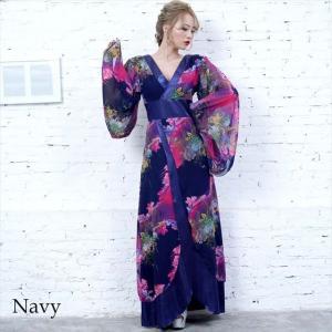 全6色 花柄リボン付き花魁ロングドレス 和柄 着物 セクシー キャバドレス お呼ばれ パーティー 衣装|ener|05