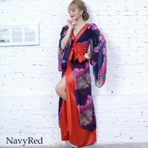 全6色 花柄リボン付き花魁ロングドレス 和柄 着物 セクシー キャバドレス お呼ばれ パーティー 衣装|ener|06
