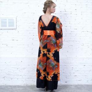 全6色 花柄リボン付き花魁ロングドレス 和柄 着物 セクシー キャバドレス お呼ばれ パーティー 衣装|ener|07
