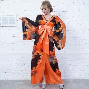 全6色 花柄リボン付き花魁ロングドレス 和柄 着物 セクシー キャバドレス お呼ばれ パーティー 衣装|ener|08