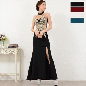 【全4色】刺繍シフォンスリット入りロングドレス|ener