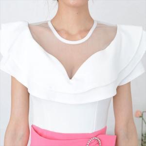 シースルーフリルミニワンピースドレス ener 09