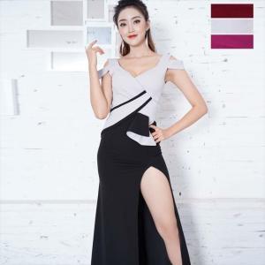 全3色 ロングスリット切り替えロングワンピース お呼ばれ パーティー ナイト セクシー ドレス キャバドレス|ener